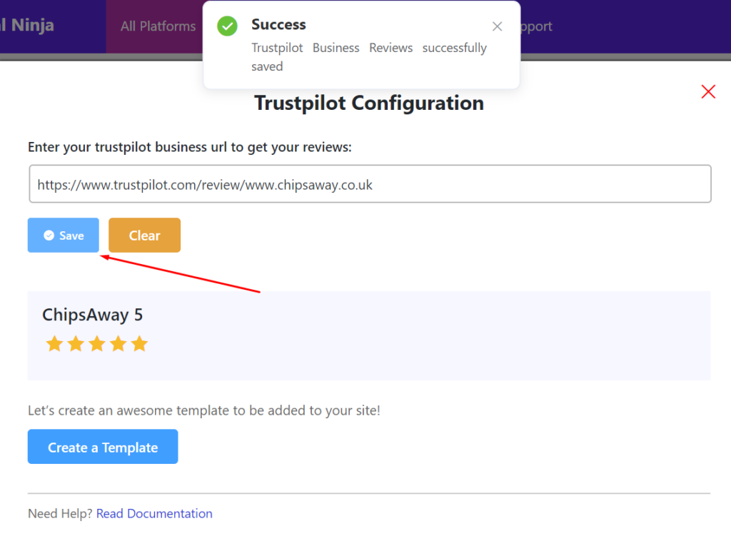 Trustpilot configuration business url
