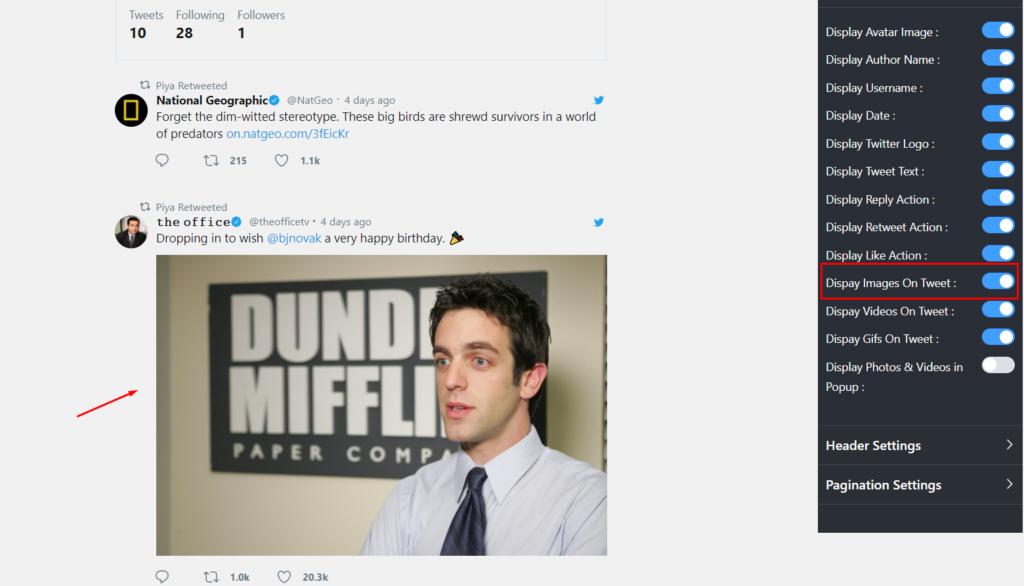 Twitter feed settings display Images On Tweet