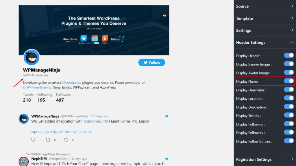 Display name Twitter feed settings