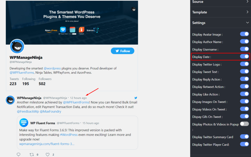 Display Date Twitter feed settings