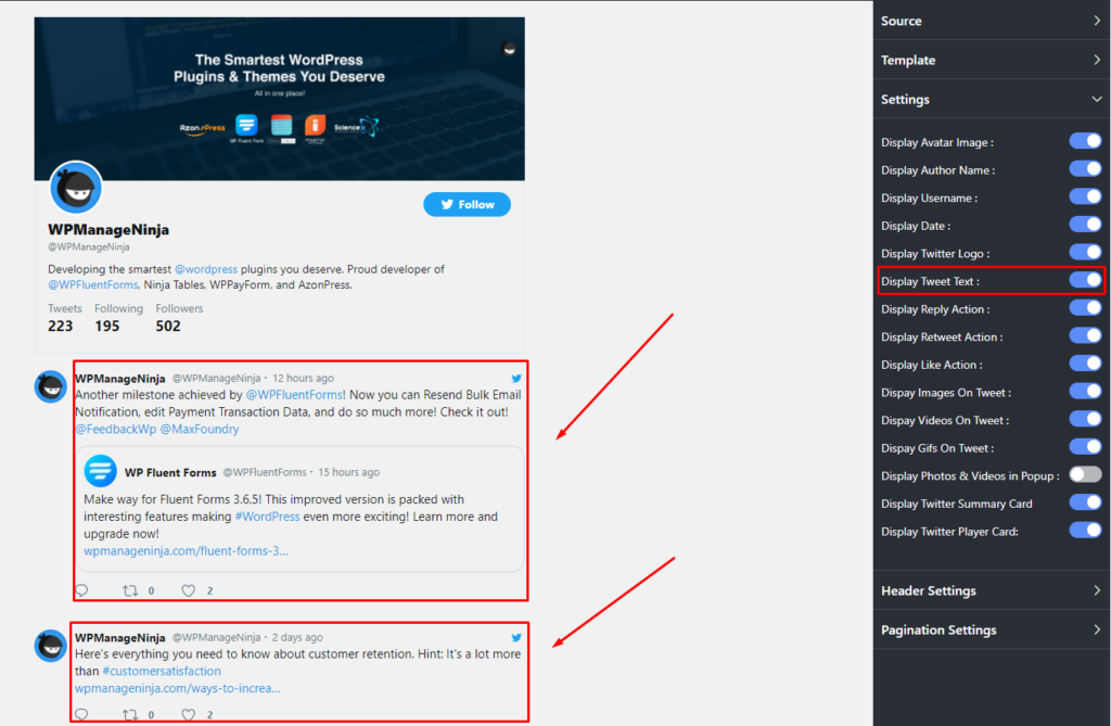 Display tweet text with Twitter feed settings