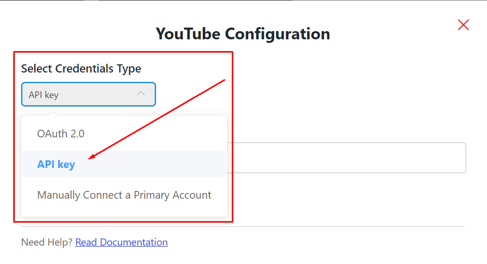 YouTube configuration credential types