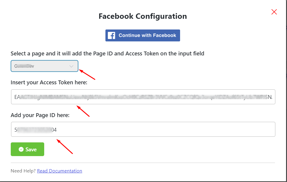 Facebook reviews Access Token and ID