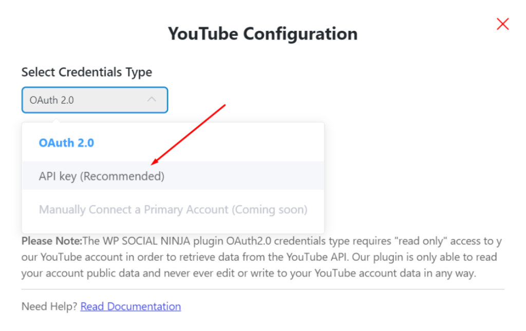 API key YouTube configuration