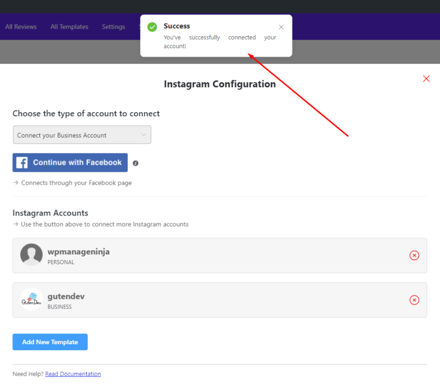 Instagram feeds successful configuration