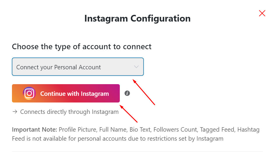 Instagram feeds connect with personal account