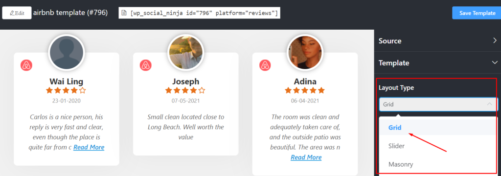 Airbnb reviews layout type
