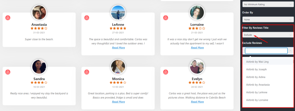 Airbnb reviews exclude options