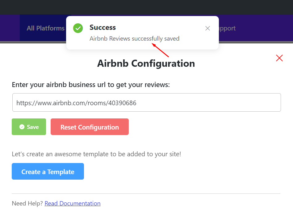 Airbnb reviews successful configuration