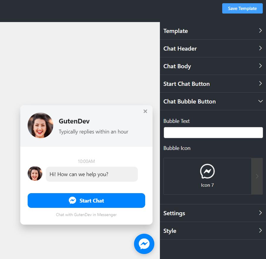 Messenger chat settings