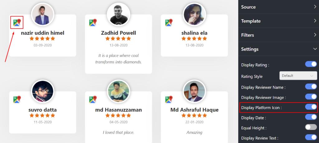 Google reviews settings platform icons
