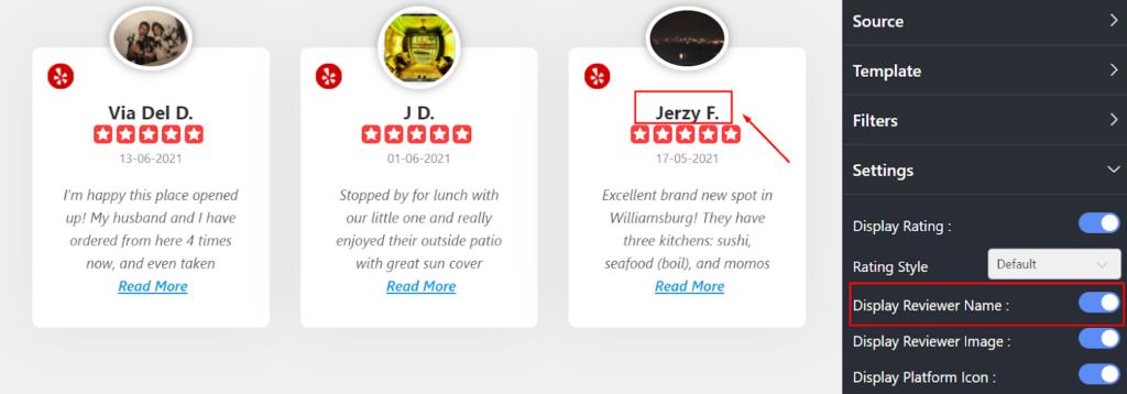 Yelp reviews Display Reviewer Name