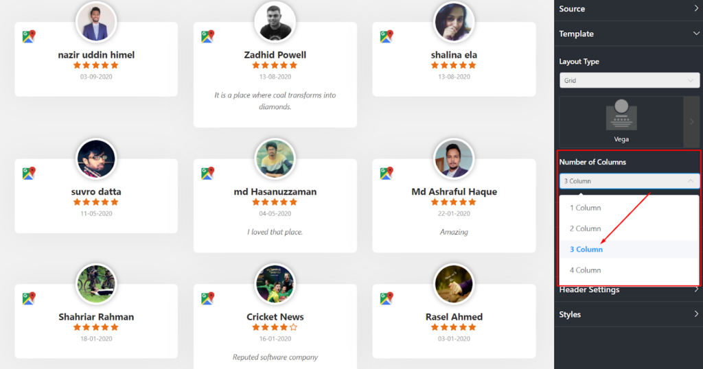 Google reviews settings number of columns