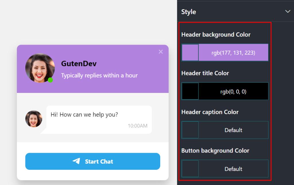 Telegram live chat style