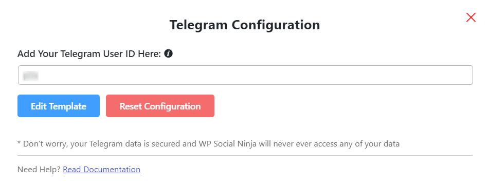 Telegram live chat configuration