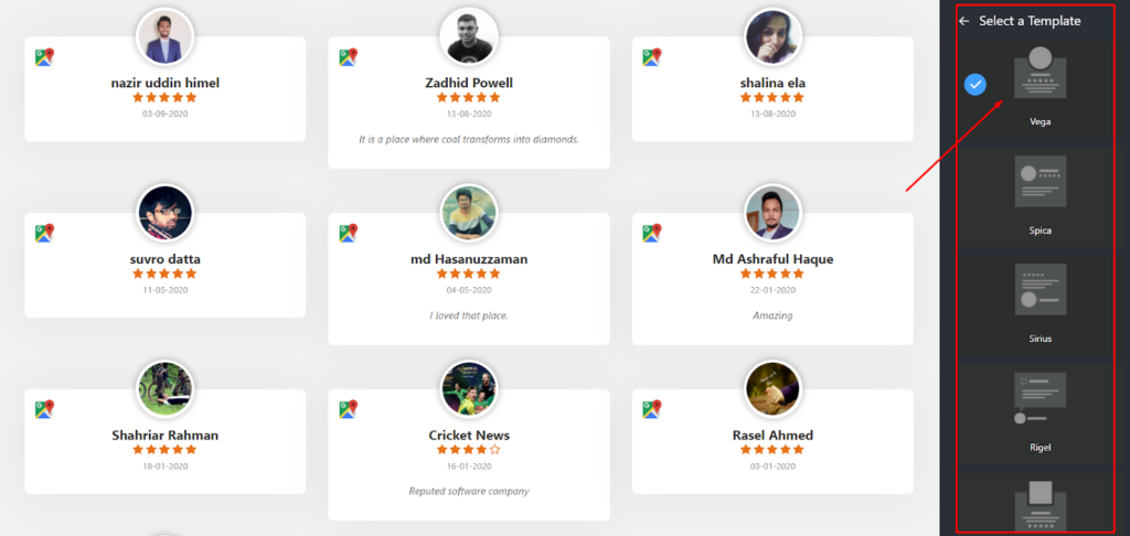 Google reviews settings template types