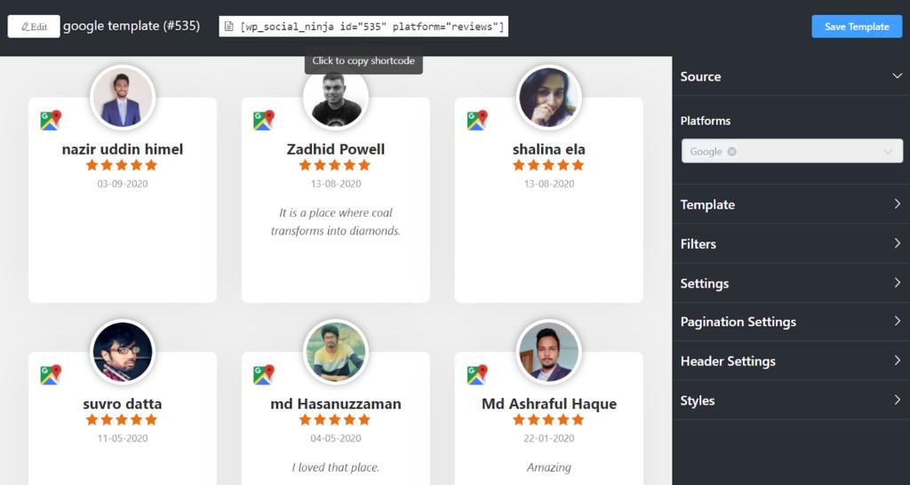 Platforms of Google reviews settings