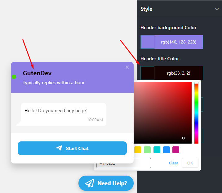 Live chat Header Title color