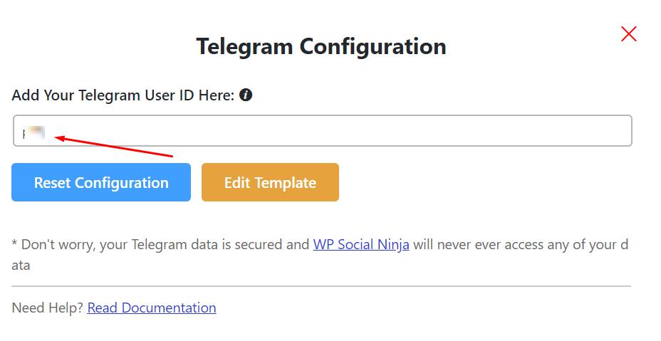 Telegram configuration live chat