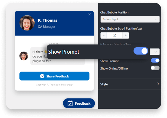 Messenger chat show prompt