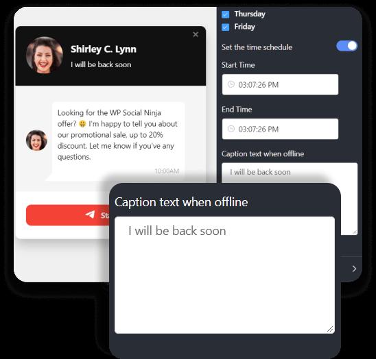 Telegram chat customized text