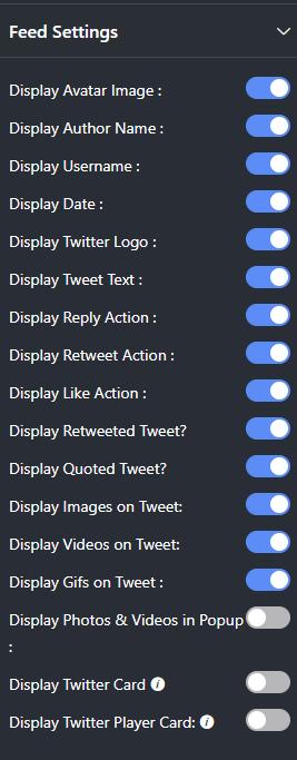 Social feeds video settings