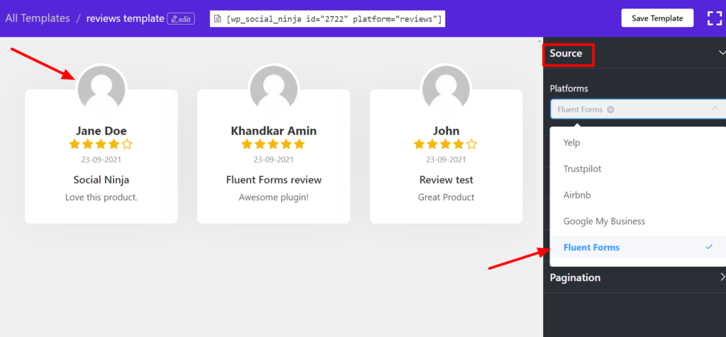 Add fluent forms review with WP Social Ninja