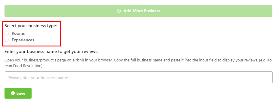 Airbnb configuration business types
